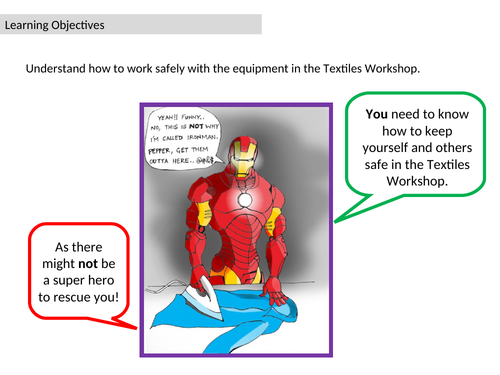 Comic Strip for dangers in the Textiles Workshop - homework or stand alone cover lesson