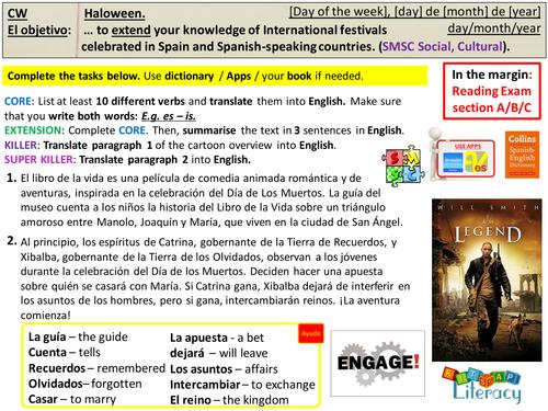 KS4 Spanish Halloween El Dia de los Muertos (AQA GCSE)