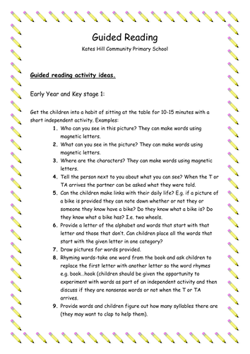 Guided Reading Lesson Ideas for KS1 and KS2