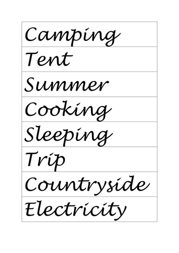 Camping Guided Reading resources