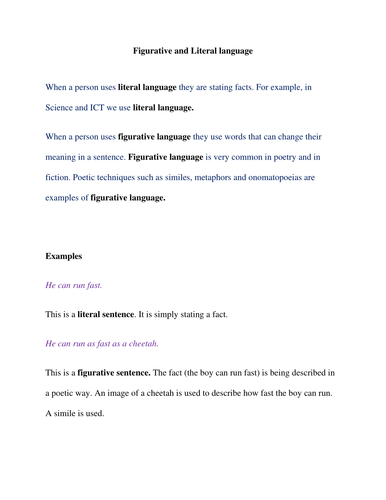 Figurative And Literal Language Explained To Ealesl Andor Sen