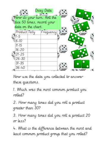 Tally Charts and Grouped Data Investigating Products When Rolling Dice
