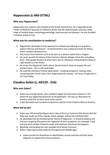 GCSE History - Medicine Through Time
