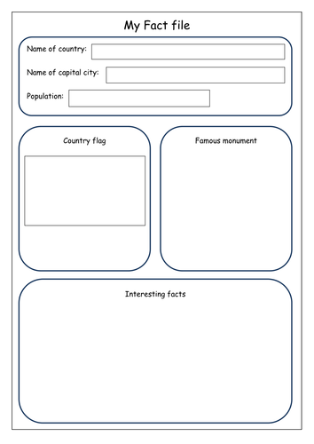 Geography Fact file recording sheet