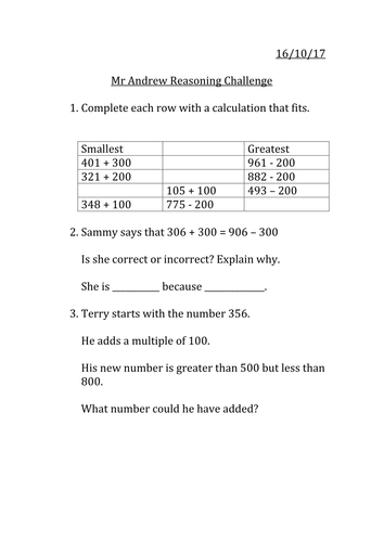 Adding and subtracting reasoning MASTERY year 3