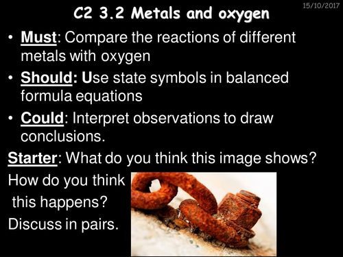 Reaction of metals with oxygen