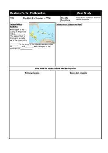 Haiti earthquake - Fully resourced lesson
