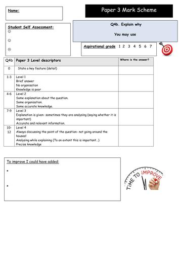 Edexcel GCSE 9-1 Student Friendly Mark Scheme Paper 3