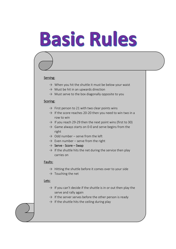 Basic Rules for Badminton Help Sheet