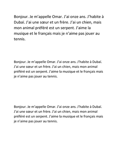 Simple questions and answers in French, with running dictation text/activity