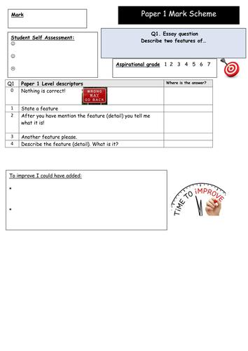 GCSE 9-1 Edexcel Paper 1 Student Friendly Mark Scheme