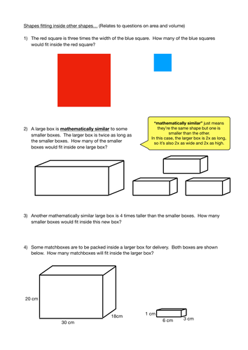 How Many Boxes Fit? (Relating to Enlargement and Area/Volume Scale Factors)