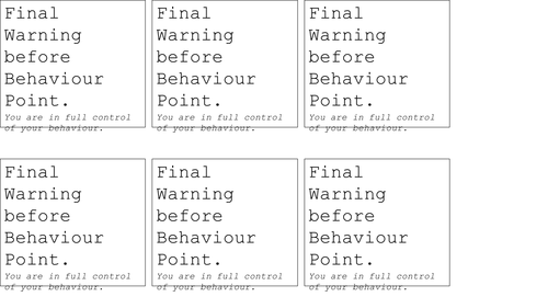 Behaviour Warning Cards