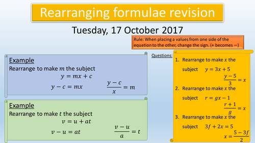 Revision Lessons Changing Units and rearranging formula