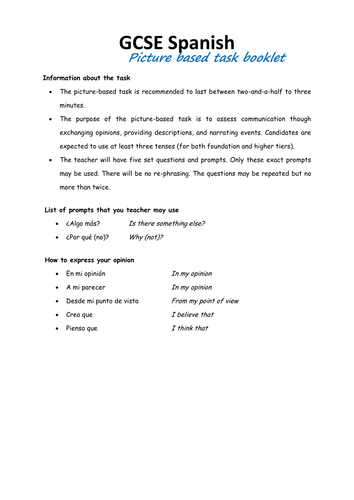 GCSE Spanish - Picture based task - booklet of pictures + questions