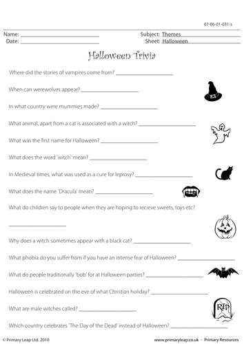 Halloween Trivia by PrimaryLeap - Teaching Resources - Tes