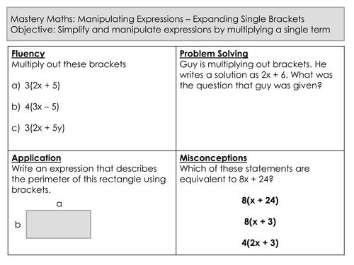 Mastery Maths - Manipulating Expressions - Expanding Single Brackets