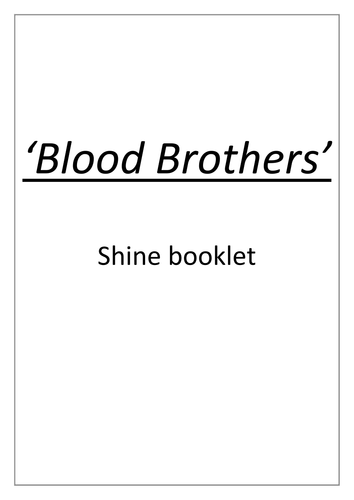 Blood Brothers academic non fiction booklet - GCSE Literature, Willy Russell