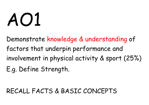OCR A LEVEL PE 20 mark extended question help cards (new spec 2016+)