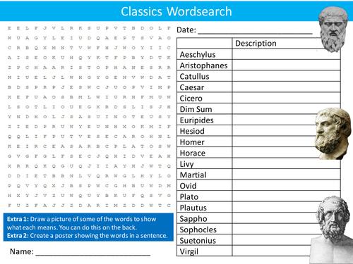Classics Wordsearch Classical Literature Starter Settler Activity Homework Cover Lesson
