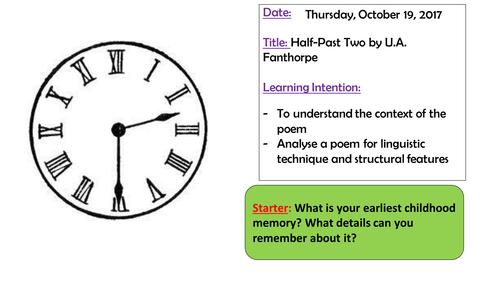 Half Past Two by U.A. Fanthorpe Edexcel iGCSE English literature (9-1)