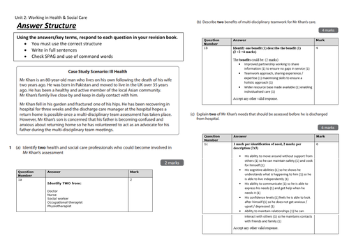 NEW Unit 2: Working in Health and Social Care L3 Revision Activities