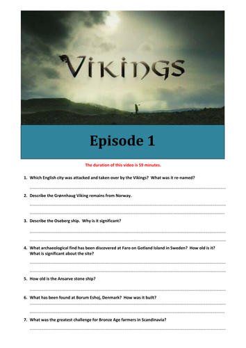 BBC Vikings documentary worksheet