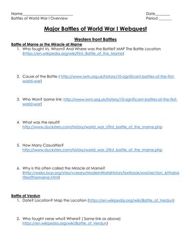 World War I- Major Battles Webquest