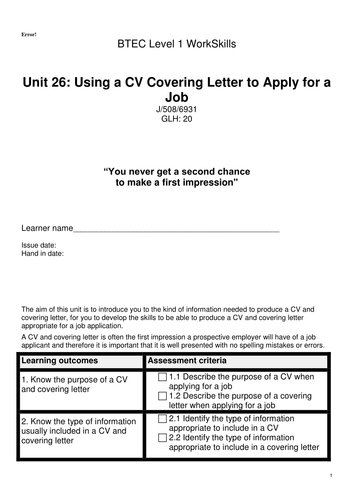 BTEC WorkSkills Using a CV & Covering Letter to Apply for a Job Level 1 Unit 26 by snowball11 | Teaching Resources
