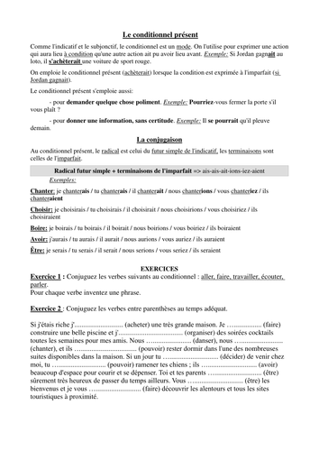 """Le conditionnel et """"Si"""" clauses : tutorial and practice"""