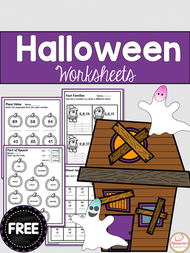 Free Halloween Math Worksheets and Literacy