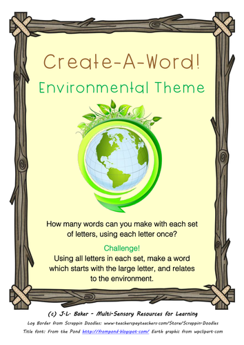 Create-A-Word! Vocabulary Activities - Environment Theme
