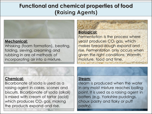 Function and chemical properties of food fact sheets. Ideal for GCSE Food preparation and nutrition.