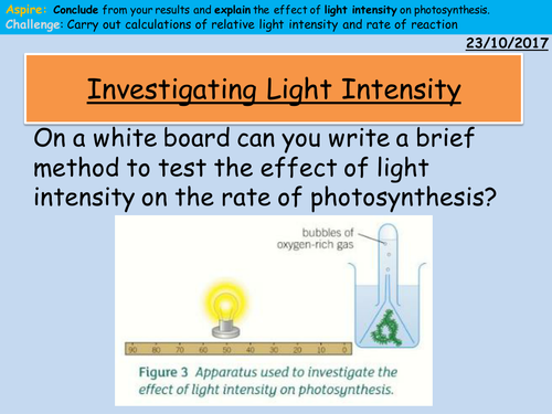 Investigating Light Intensity and Rate of Photosynthesis Simulation and Follow up Lesson