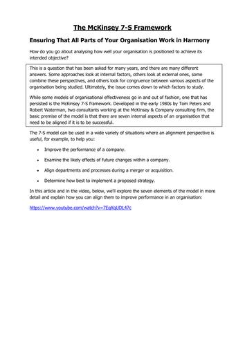 McKinsey 7 S Research Worksheet