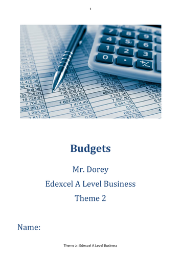 Budgets Student Workbook & Answers