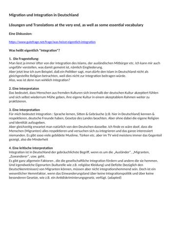 Revised Edexcel /AQA A-Level German Topic: Migration und Integration