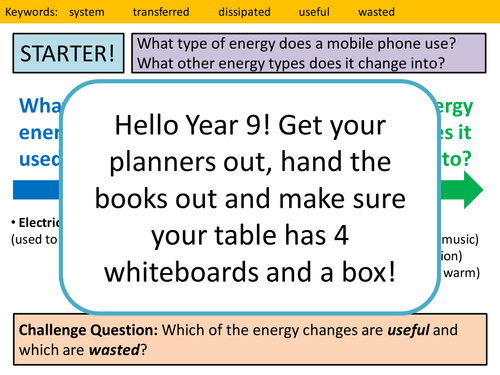 Useful and Wasted Energy Lesson