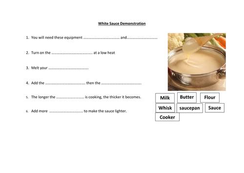 White Sauce Demonstration Worksheet