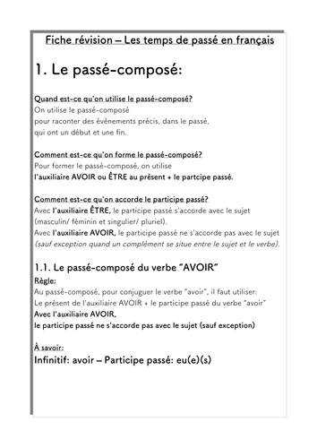 French Past Tenses Revision 1. Rules Passé-Compose/ Imparfait, Avoir/ Être