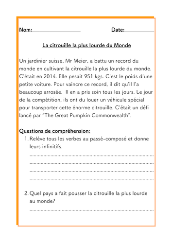 French Halloween reading comprehension about the World's heaviest pumpkin