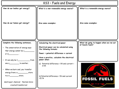 KS3 Physics Revision Worksheets
