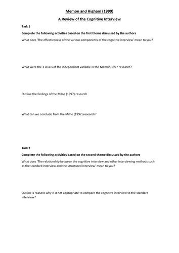 Memon and Higham (1999) Activity Worksheet