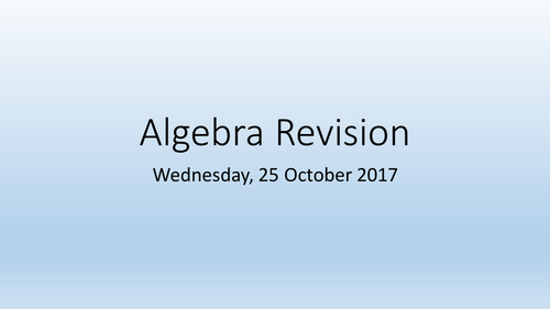 GCSE Higher level Algebra Revision