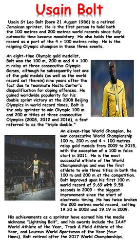 Usain Bolt Reading Comprehension By Krisgreg30 Teaching