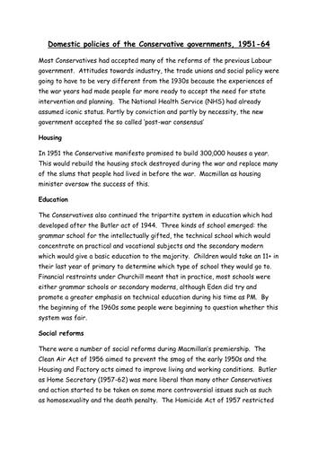 AQA A level Modern Britain 1951-2007, post war consensus