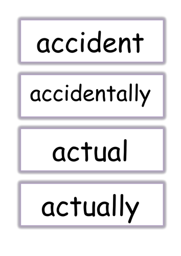 Year 3 and 4 common exception word flashcards