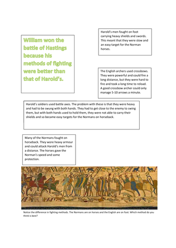 BATTLE OF HASTINGS: WHY DID WILLIAM WIN?CARD SORTING/GROUP WORK/ESSAY PREPARATION