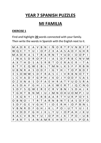 YEAR 7 SPANISH PUZZLES by maryb777 | Teaching Resources
