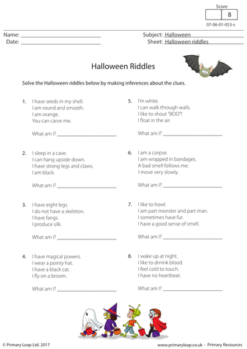 Halloween Worksheet - Riddles by PrimaryLeap - Teaching Resources ...